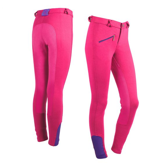 QHP Riding breeches Junior artificial leather full seat