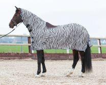 Harry's Horse Flysheet mesh with neck and sheepskin saddle pad to hogout, zebra gray