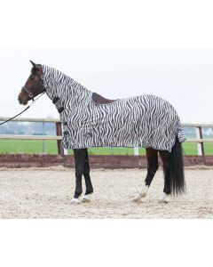 Harry's Horse Flysheet mesh with neck and sheepskin saddle pad to hogout, zebra gray