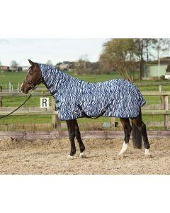 Harry's Horse Flysheet mesh with neck & webbing, zebra medieval blue