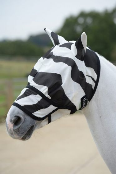Bucas Buzz-Off Zebra Fly Mask With Nose